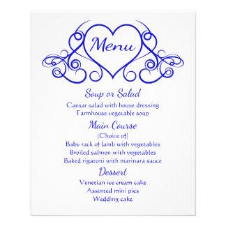 Banquete de boda floral del corazón del menú del