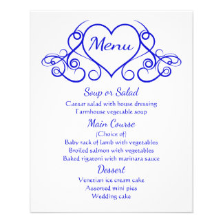 Banquete de boda floral del corazón del menú del folleto 11,4 x 14,2 cm