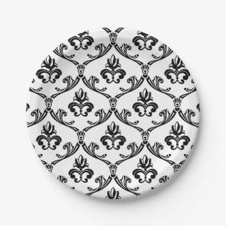 Banquete de boda negro y blanco del damasco floral plato de papel