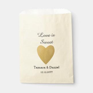 Banquete de boda personalizado corazón con clase bolsa de papel