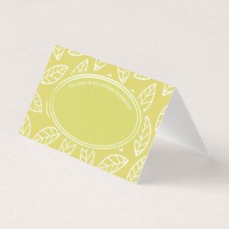 Banquete de boda tropical elegante de la hoja tarjeta de asiento