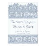 Banquete medieval elegante del banquete del azul invitación 12,7 x 17,8 cm