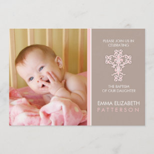 Baptismo dulce y moderno Invitación a la bebé