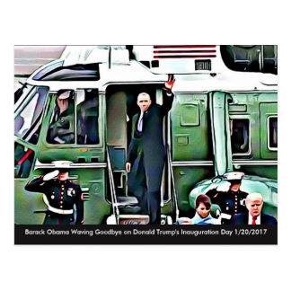 Barack Obama que agita adiós el día de Postal