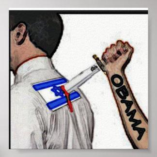 Barack Obama que apuñala hacia fuera al aliado más