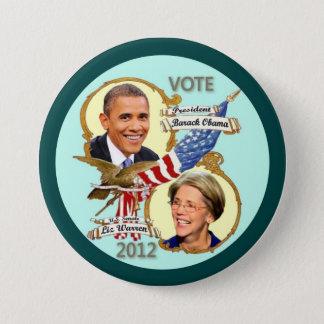 Barack Obama y Elizabeth Warren 2012 Chapa Redonda De 7 Cm