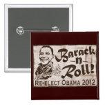 Barack y engranaje de Obama 2012 del rollo Chapa Cuadrada 5 Cm