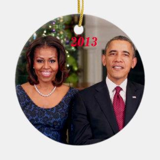Barack y Michelle 2013 - ornamento Adorno Navideño Redondo De Cerámica