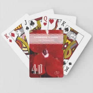 Baraja De Cartas Aniversario de boda de rubíes del rojo 40.o