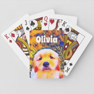 Baraja De Cartas Arte psicodélico del perrito vibrante del golden
