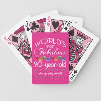 Baraja De Cartas Bicycle 90.o Cumpleaños la mayoría del rosa colorido