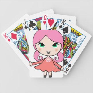 Baraja De Cartas Bicycle Arte rosado del dibujo animado del chica del pelo