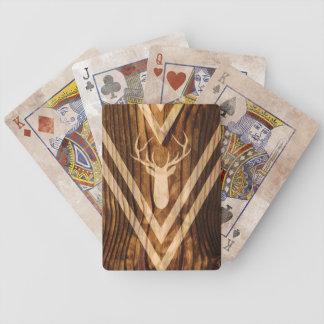 Baraja De Cartas Bicycle Ciervos de Boho en la madera rústica