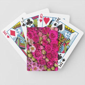 Baraja De Cartas Bicycle Cubierta rosada bonita de la flor de tarjetas