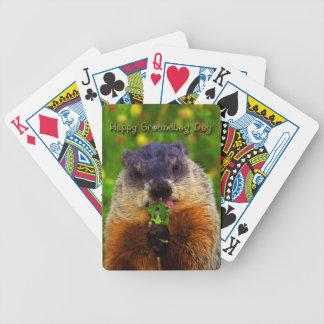 Baraja De Cartas Bicycle Día de la marmota feliz que come la flor