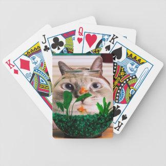 Baraja De Cartas Bicycle Gato y pescados - gato - gatos divertidos - gato