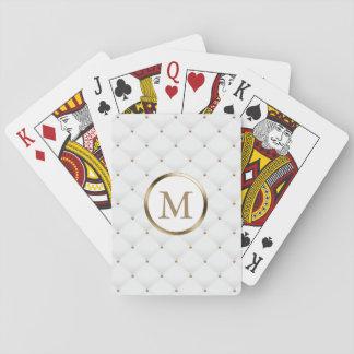 Baraja De Cartas Blanco de lujo del monograma de la inicial moderna