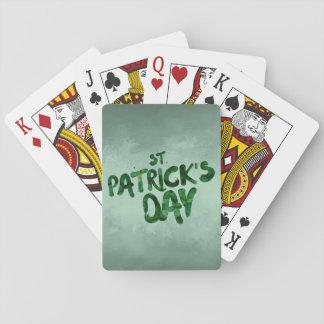 Baraja De Cartas Celtic irlandés del trébol del verde del día de St