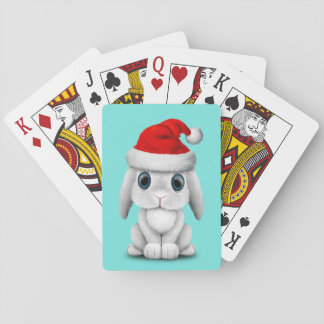 Baraja De Cartas Conejito blanco del bebé que lleva un gorra de