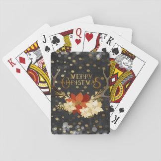 Baraja De Cartas Confeti floral de las astas de las Felices Navidad