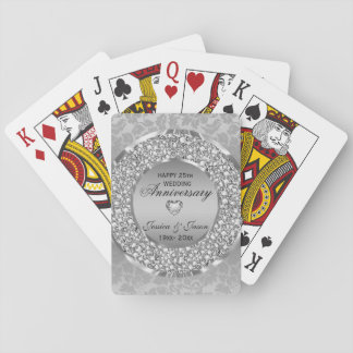 Baraja De Cartas Corazón de plata y aniversario blanco de los