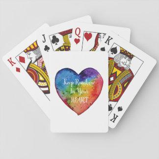 Baraja De Cartas Corazón lindo del arco iris de la acuarela