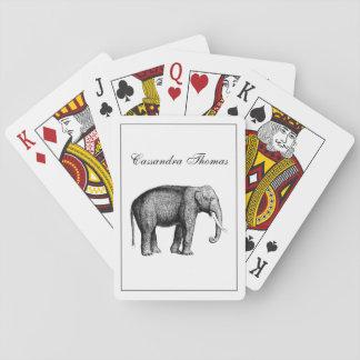 Baraja De Cartas Dibujo del elefante del vintage