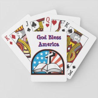 Baraja De Cartas Dios bendice la cubierta de América de tarjetas