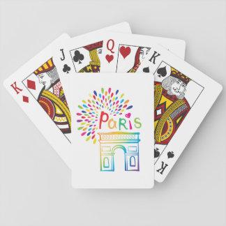 Baraja De Cartas Diseño de neón de París Francia el | Arco del
