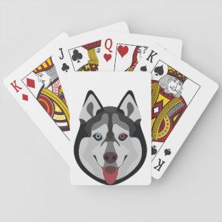 Baraja De Cartas El ilustracion persigue el husky siberiano de la