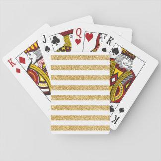 Baraja De Cartas Falso brillo elegante del oro y modelo blanco de