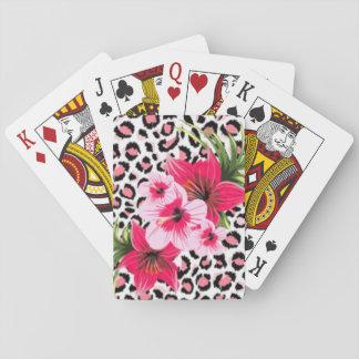 Baraja De Cartas Flores rosadas y diseño de la impresión del modelo