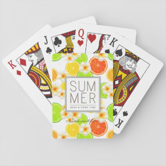 Baraja De Cartas Frutas frescas del verano y flores exóticas del