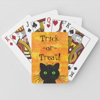 Baraja De Cartas Gato negro lindo del peekaboo en fondo anaranjado
