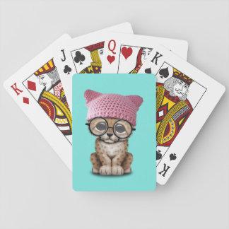 Baraja De Cartas Gorra del gatito de Cub del guepardo que lleva