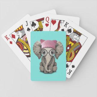 Baraja De Cartas Gorra del gatito del elefante lindo del bebé que