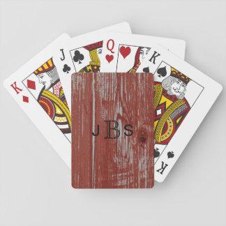 Baraja De Cartas Grano rojo rústico con monograma de madera del