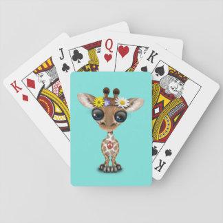 Baraja De Cartas Hippie lindo de la jirafa del bebé