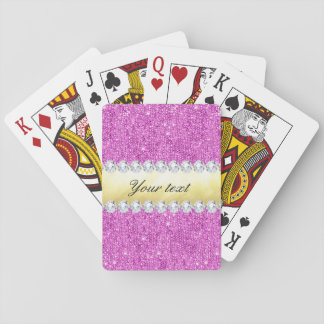 Baraja De Cartas Hoja y diamantes púrpuras de oro de las