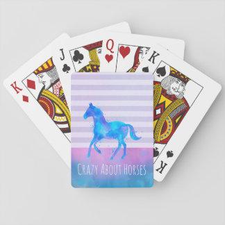 Baraja De Cartas Loco por los caballos rosados y acuarela azul
