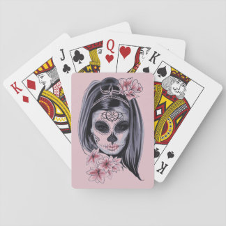 Baraja De Cartas Máscara del esqueleto de la mujer