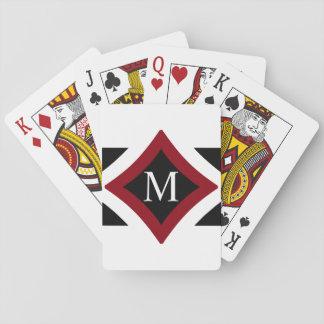 Baraja De Cartas Monograma de forma diamantada elegante del negro,