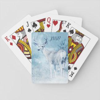 Baraja De Cartas Monograma de los árboles de los ciervos y de pino