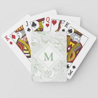 Baraja De Cartas Monograma de lujo del diamante de la mirada del