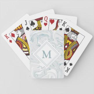 Baraja De Cartas Monograma de mármol azul de lujo del diamante de