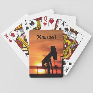 Baraja De Cartas Naipe de la puesta del sol de Kansas/de la bomba