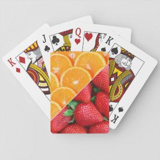 Baraja De Cartas Naranjas y collage de las fresas
