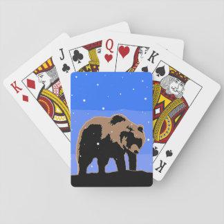 Baraja De Cartas Oso grizzly en el invierno - arte original de la