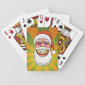 Baraja De Cartas Papá Noel con sonrisa de las Felices Navidad