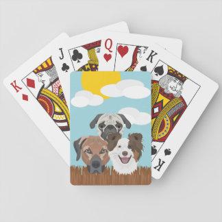 Baraja De Cartas Perros afortunados del ilustracion en una cerca de